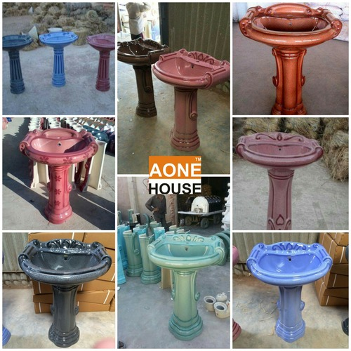 Rustic Design Color Wash Basin Pedestal