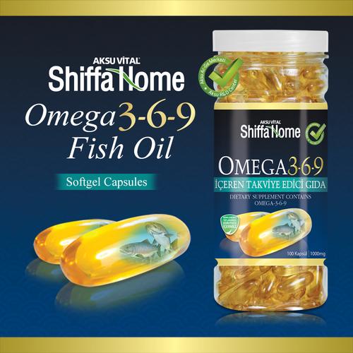 Omega 3-6-9 fish oil softgel supplement