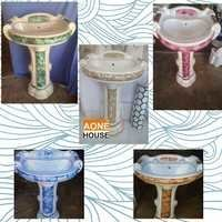 Multi Color Sticker Design Wash Basin Pedestal