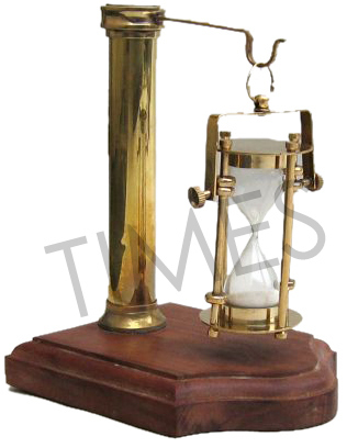 Antique Wooden Base Hanging Hour Glass Clock