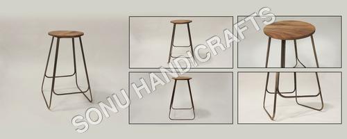 Iron wooden bar stool