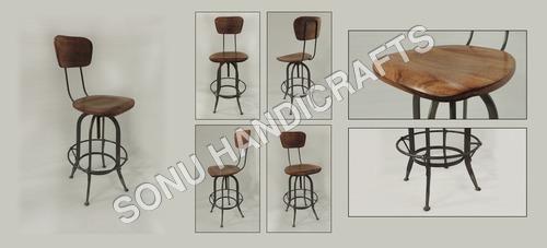 Iron wooden bar chair