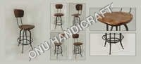 Iron wooden bar chair