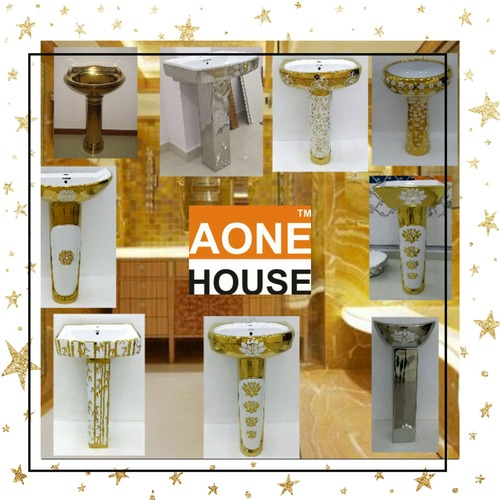 Gold and Silver Plated Wash Basin Pedestal
