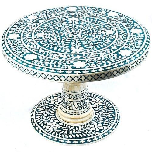 Blue Floral Round Top Bone Inlay Coffee Table