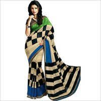 Beige & Black Cotton Saree