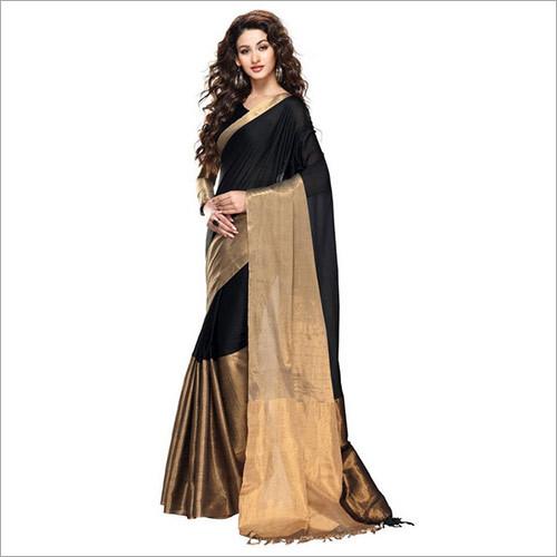 Black & Gold Cotton Saree