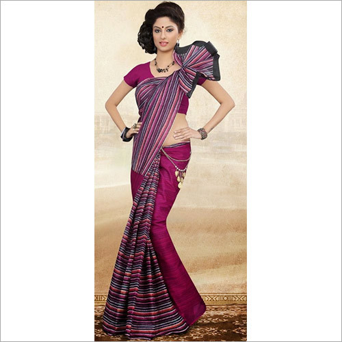 Half & Half Purple Cotton Saree