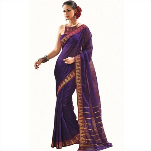 Purple Color Cotton Saree