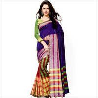 Purple Printed Cotton Saree