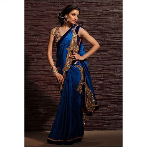 Blue Color Cotton Silk Saree