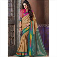 Cream Color Cotton Silk Saree