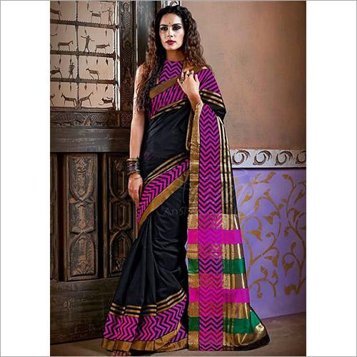 Designer Black Color Cotton Silk Saree