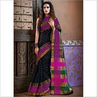 Designer Black Color Cotton Silk Saree