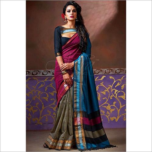 Designer Multi Color Cotton Silk Saree