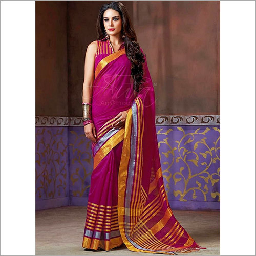 Magenta Color Cotton Silk Saree