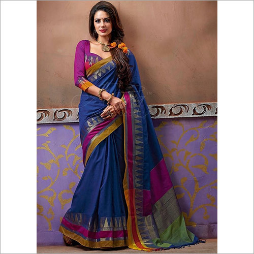 Designer Multi Color Cotton Silk Saree