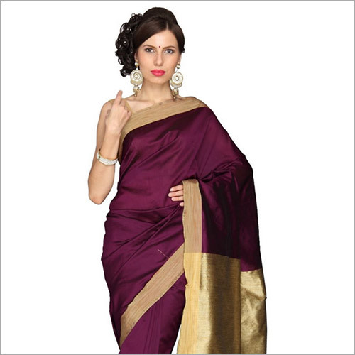 Purple Cotton Silk Saree