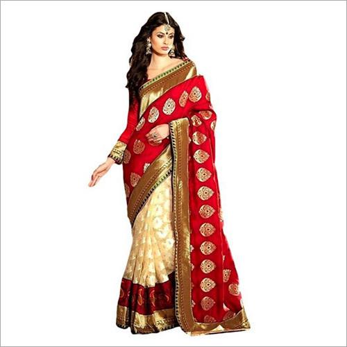 Red Beige Cotton Brasso Designer Silk Saree
