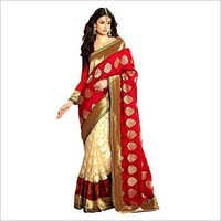 Red Beige Cotton Brasso Designer Silk Saree