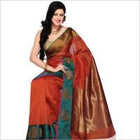 Red Cotton Silk Saree