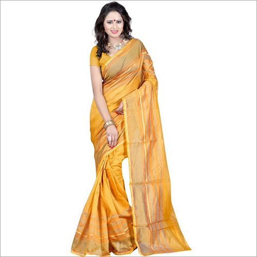 Yellow Plain Cotton Silk Saree