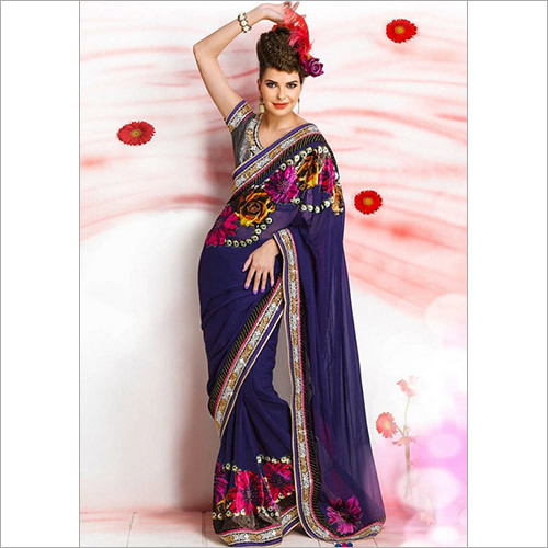 Blue Fancy Worked Printed Saree