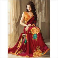 Casual and Festival Maroon Trendy Printed Saree