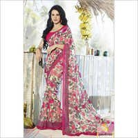 Cream and Pink Stylish Printed Sarees