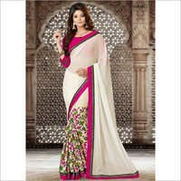 Glossy Cream Georgette Flower Printed Saree