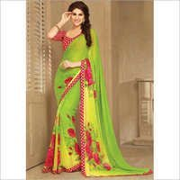 Haute Green Flower Print, Lace Border and Printed Saree