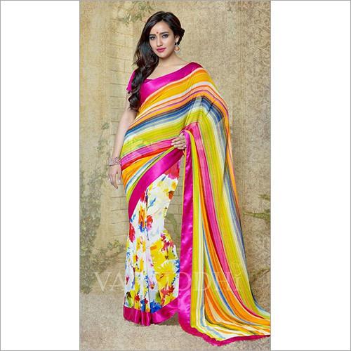 Multicolor Georgette Printed Saree