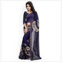 Navy Georgette Printed Saree