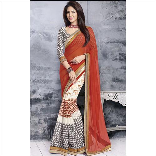 Organge Printed Saree