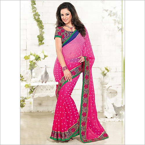 Stylish Pink Polka Printed Saree