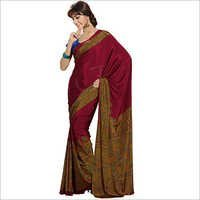 Dark Maroon Plain Crepe Saree With Multicolor Designer Borders