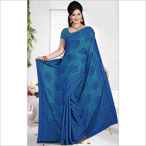 Elegant Aqua Blue and Royal Blue Color Crepe Saree