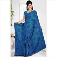 Elegant Aqua Blue and Royal Blue Color Crepe Saree