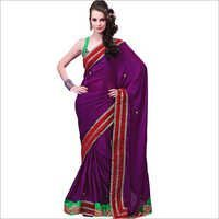Fabulous Purple Faux Crepe Saree