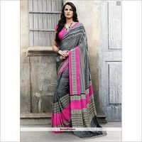 Grey Italian Crepe Saree