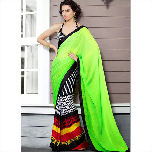 Miracle Green Black Crepe Saree