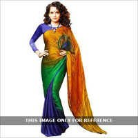 Multicoloured Crepe Saree