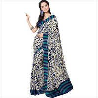 Navy Blue Crepe Saree