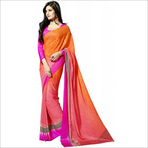 Orange Crepe Saree