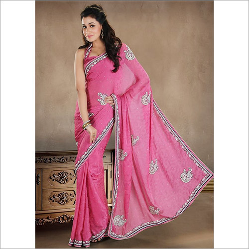 Pink Crystals And Embroidered Faux Crepe Saree