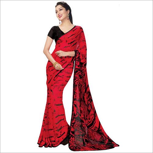Pleasing Red Colored Printed Satin Crepe Saree