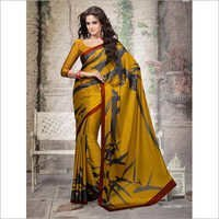 Yellow Designer Crepe Saree With Blouse