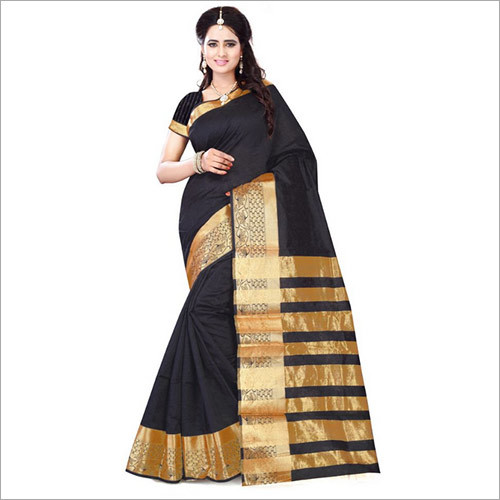 Black Art Silk Saree With Blouse