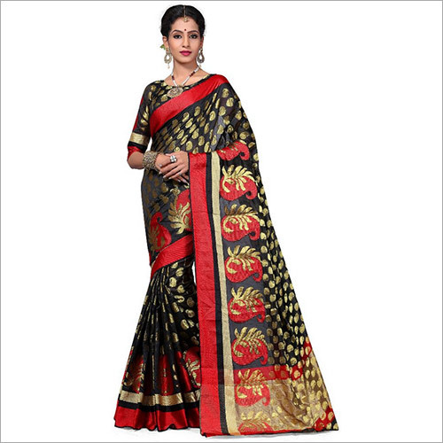 Black Colour Banarasi Art Silk Woven Work Saree With Unstitched Blouse Piece