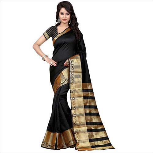 Black Designer Banarasi Saree With Blouse Piece